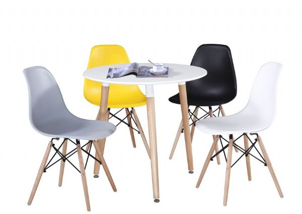 Three legged round fixed top dining table to match Eames inspired chairs